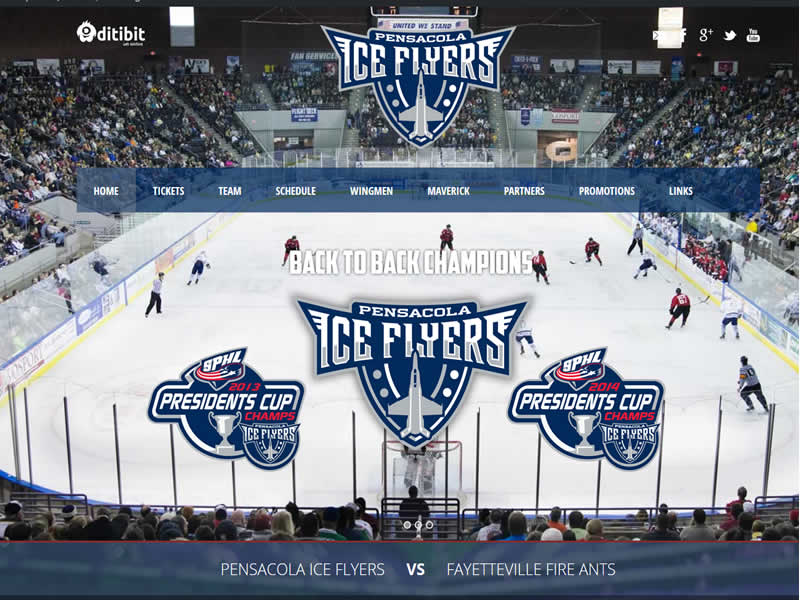 pensacola website design for pensacola ice flyers